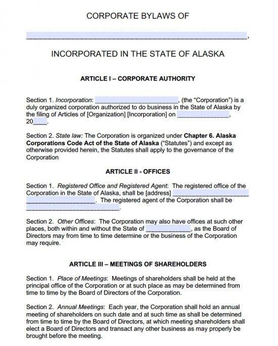 Free Alaska Corporate Bylaws Template | PDF | Word |