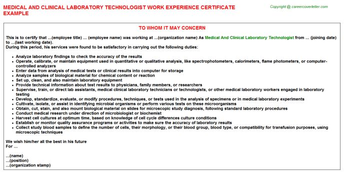 Medical And Clinical Laboratory Technologist Work Experience ...