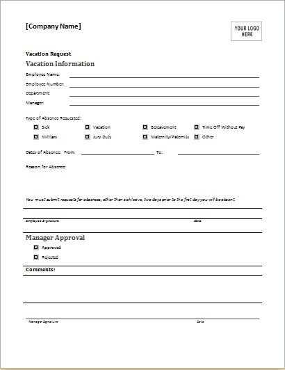 Employee Vacation Request Form for MS WORD | Document Hub