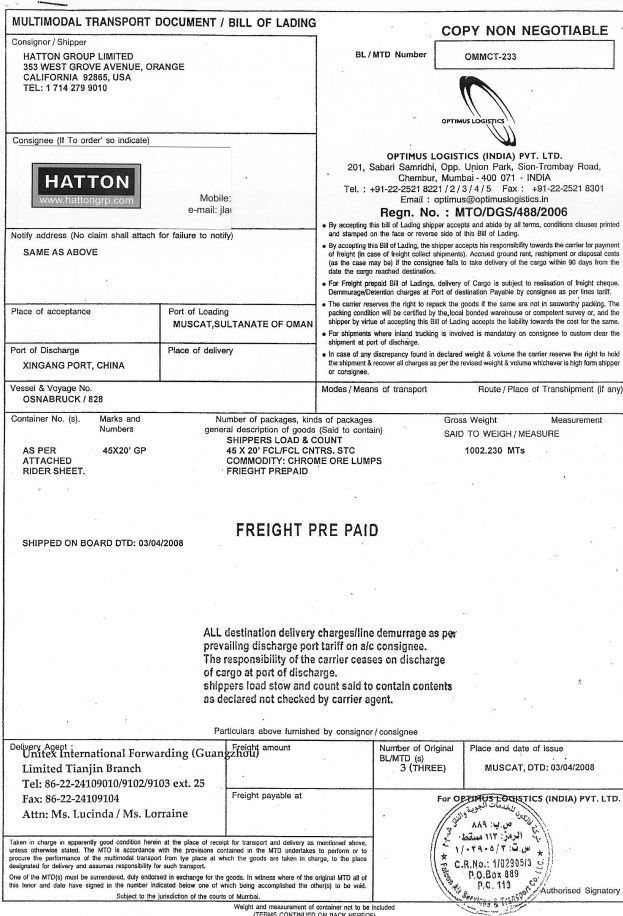 Bill Of Lading Samples Travel Certificate Template Free Profit Bol ...