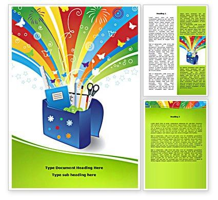 School Stationery Word Template 08254 | PoweredTemplate.com