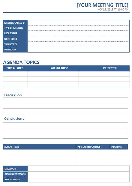 MS Word Meeting Minutes template | Office Templates Online