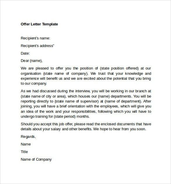 Sample Offer Letter Templates - 11+ Free , Examples , Format