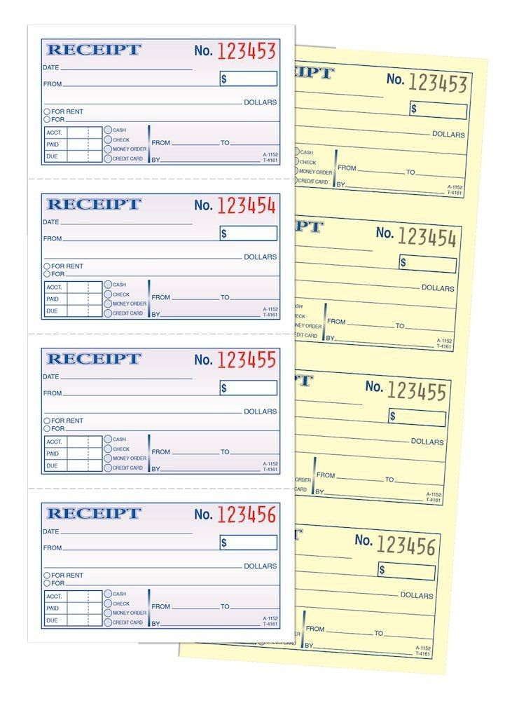 Money/Rent Receipt, 2-Part, Carbonless, 4/PG, 200 ST/BK