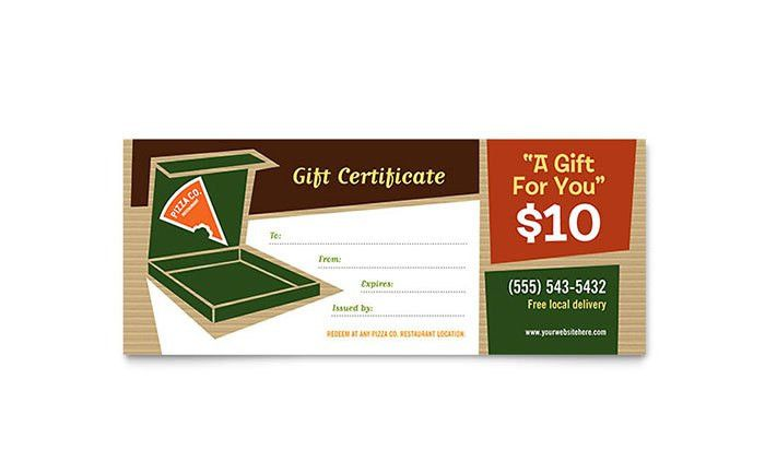 Pizza Pizzeria Restaurant Gift Certificate Template - Word & Publisher