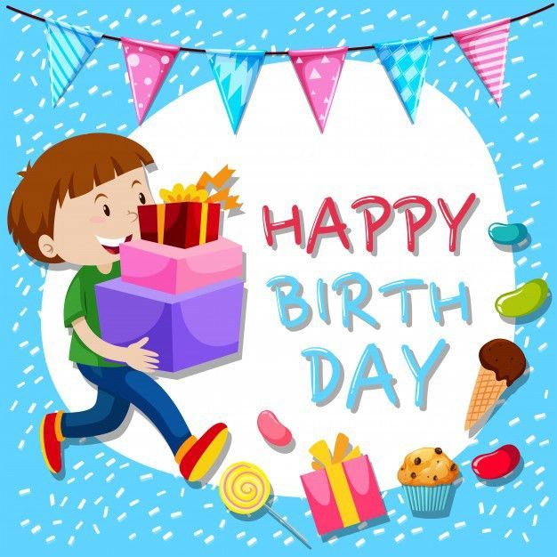 Birthday card template with boy and presents Vector | Free Download