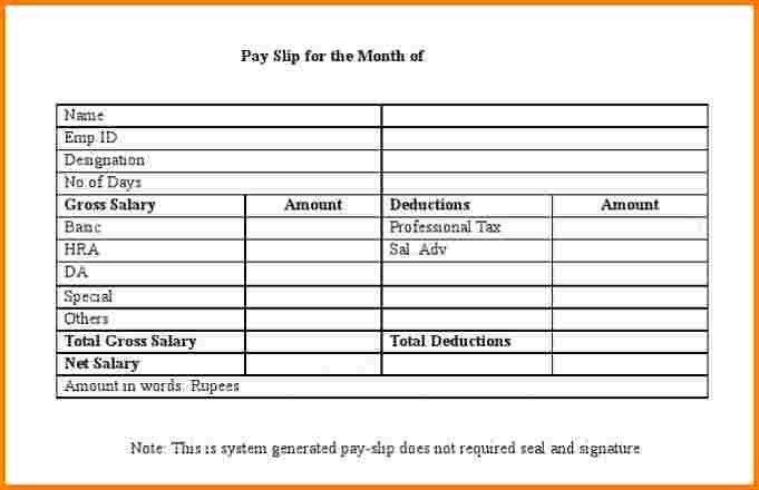 4+ salary slip formet | Salary Confirmation