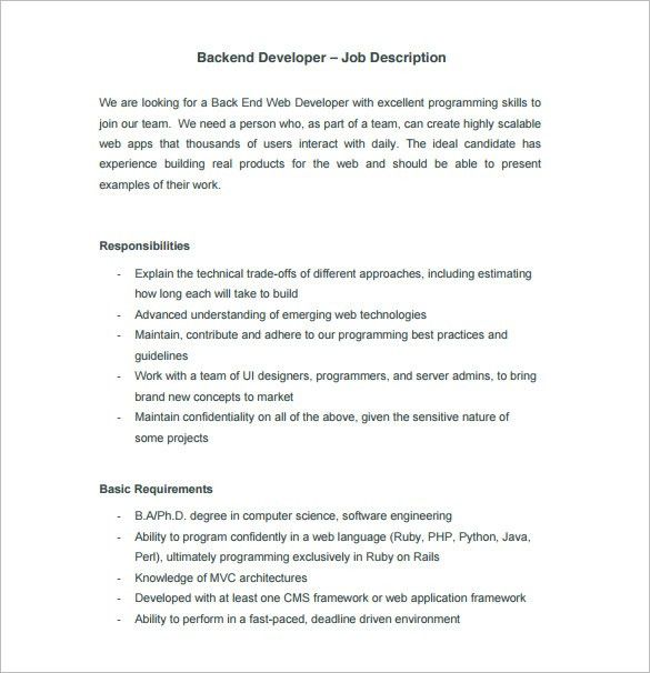 11+ Web Developer Job Description Templates – Free Sample, Example ...