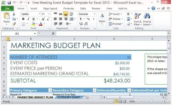Free Meeting Event Budget Template For Excel 2013