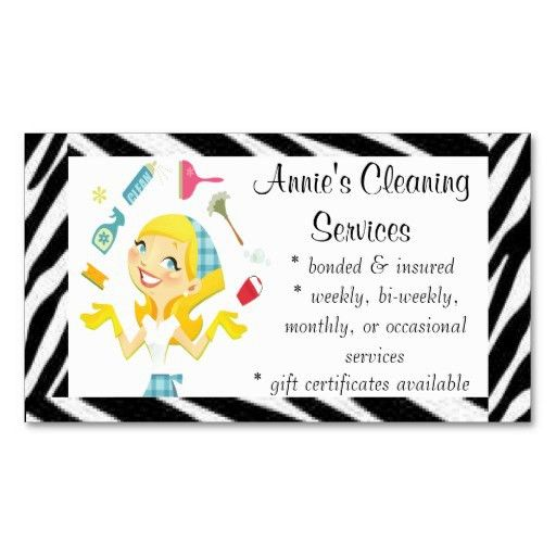 Cleaning Services Business Cards | Cleaning services maid business ...