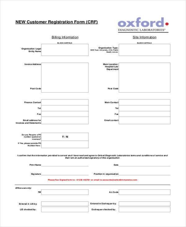 6+ Customer Registration Form Samples - Free Sample, Example ...