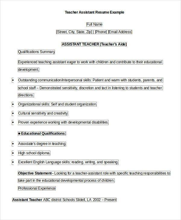Teacher Resume - 9+ Free Sample, Example, Format | Free & Premium ...