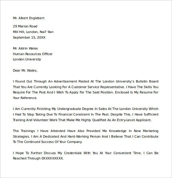 Sample Cover Letter Example - 24+ Download Free Documents in Word, PDF