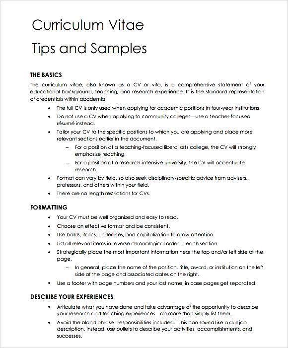 General Teaching CV Template - Free Samples , Examples & Format ...