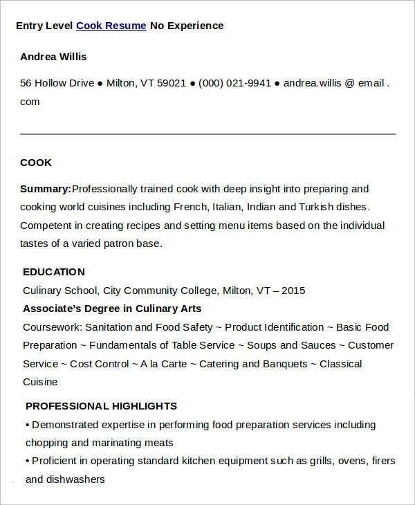 Cook Resumes - 9+ Free Word, PDF Format Download | Free & Premium ...
