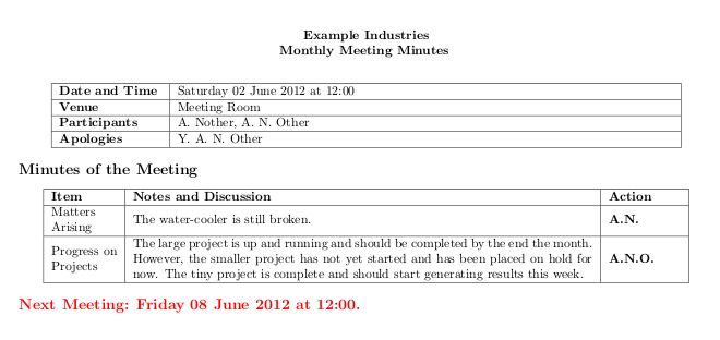 packages - Good method for typesetting meeting minutes? - TeX ...