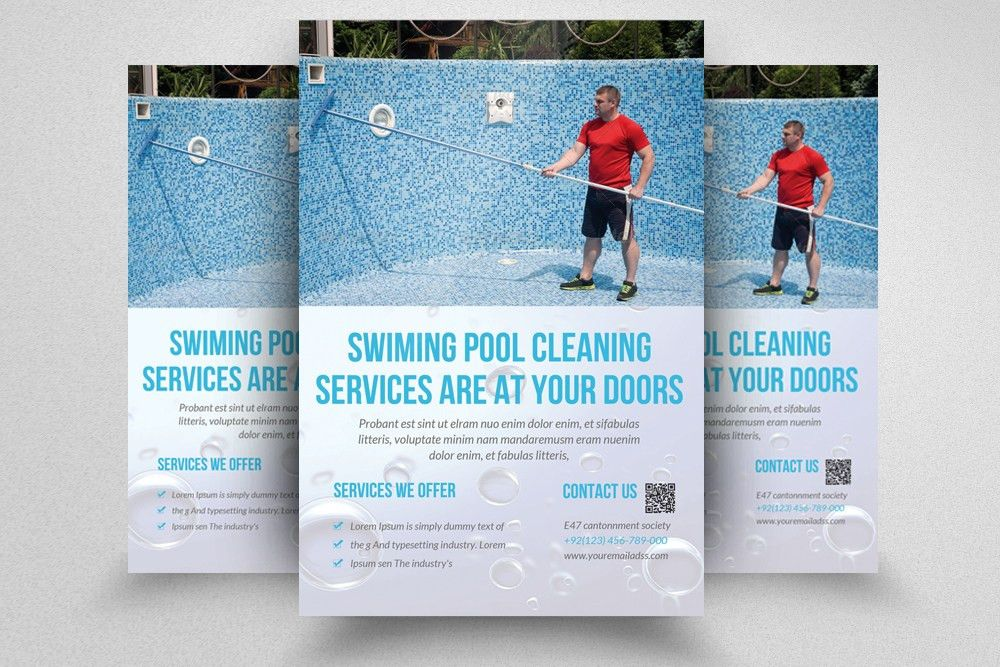 Swimming Pool Cleaning Service Advertising Flyer by Designhub ...