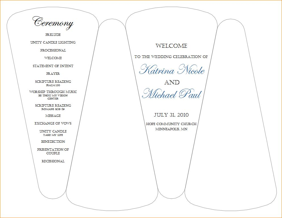 5+ wedding program template free | Outline Templates