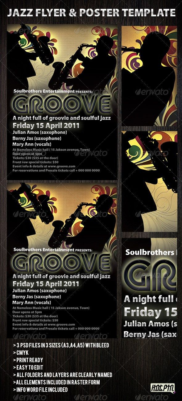 Jazz flyers & Poster template 2 #GraphicRiver Jazz party flyer ...