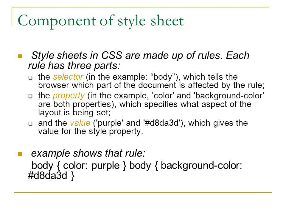 Css. Definition Cascading style sheet (CSS)  It is a simple ...