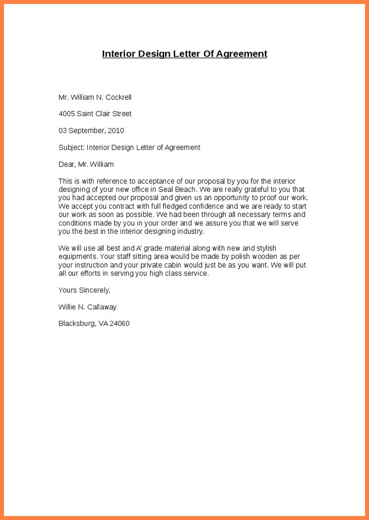 5+ interior design letter of agreement template | Purchase ...