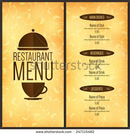 Restaurant Menu Design Vector Brochure Template Stock Vector ...