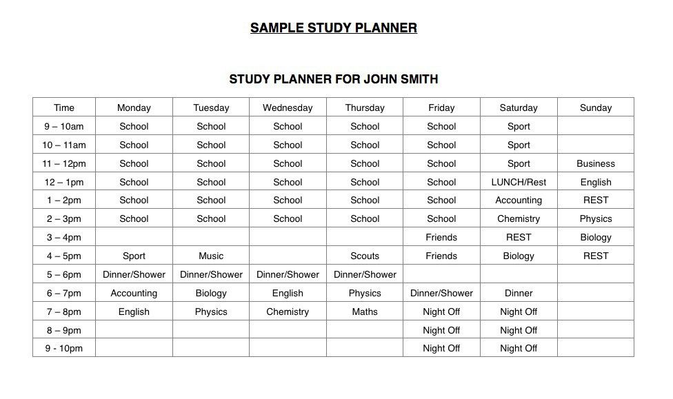 Study Timetable Template - Download Now - LearnMate.com.au