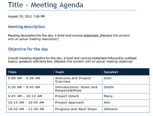 Sample Meeting Agenda Template with Blue Color : Helloalive