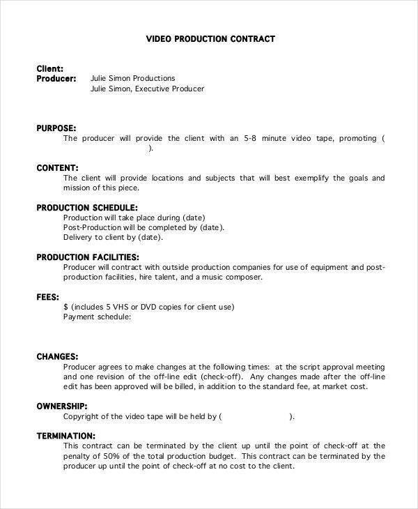 Videography Contract Template. Sample Video Production Contract ...