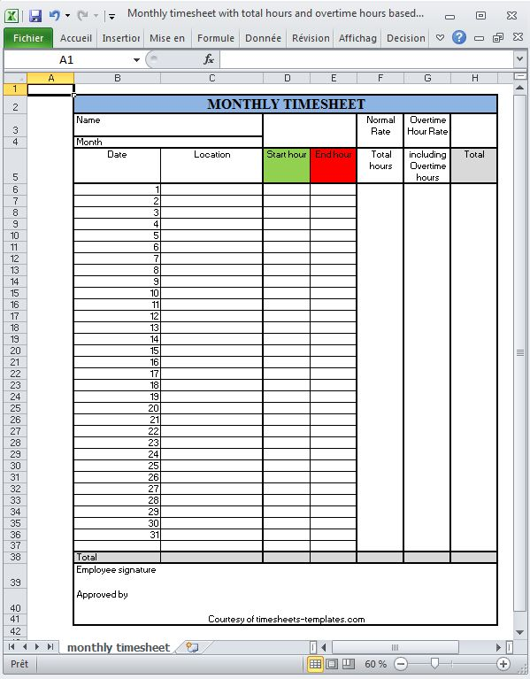 Monthly Printable Excel timesheet with total hours and overtime ...