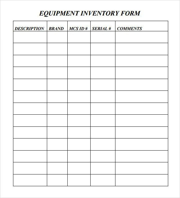 Sample Equipment Inventory Template - 9+ Free Download Documents ...