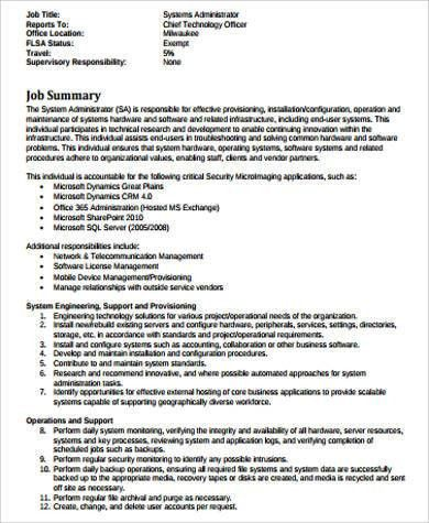 Sample System Administrator Job Description - 11+ Examples in Word ...