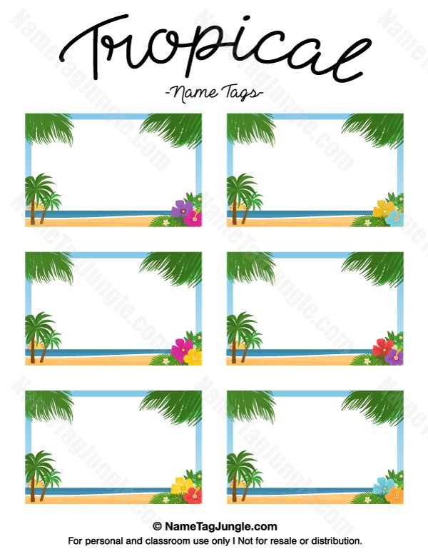Free printable tropical name tags. The template can also be used ...
