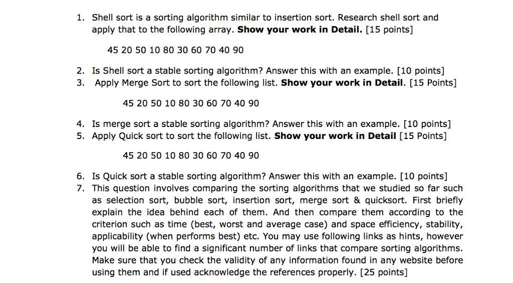 Shell Sort Is A Sorting Algorithm Similar To Inser... | Chegg.com