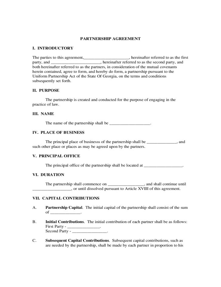 Partnership Agreement Form - Georgia Free Download