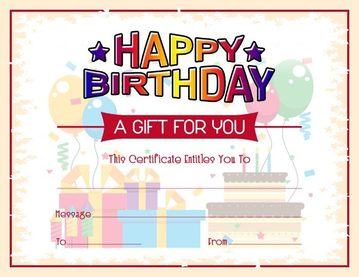 Free Birthday Gift Certificate Template | Formal Word Templates