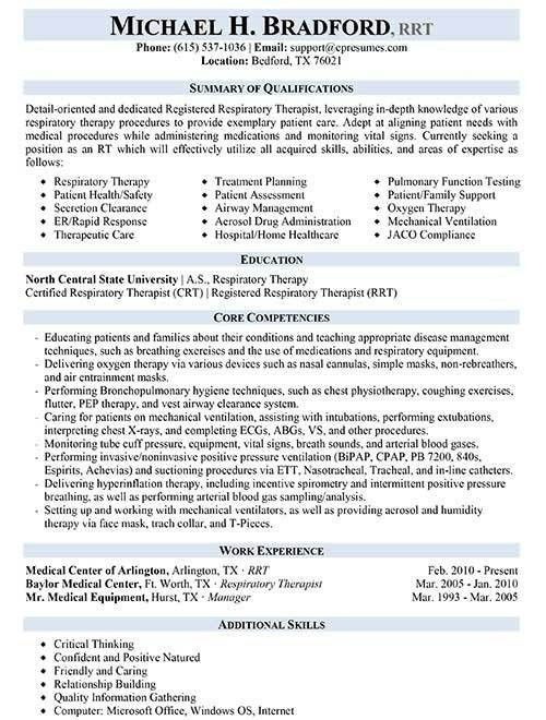 Respiratory Therapist Resume Sample | jennywashere.com