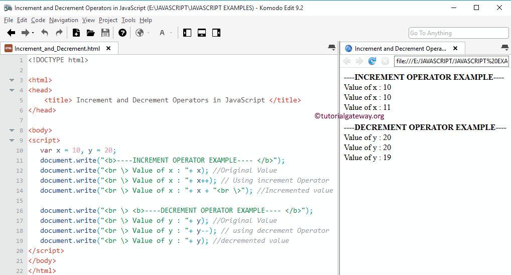 Increment and Decrement Operators in JavaScript
