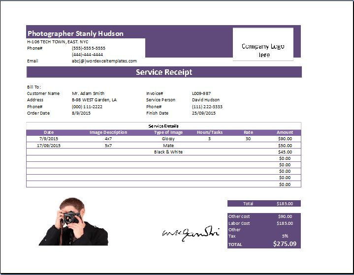 MS Excel Photography Receipt Template | Receipt Templates