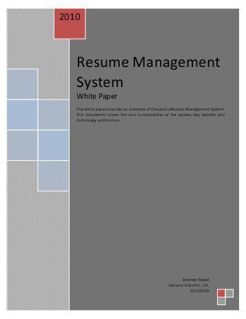 Resume Management System. director of human resources resume. iis ...