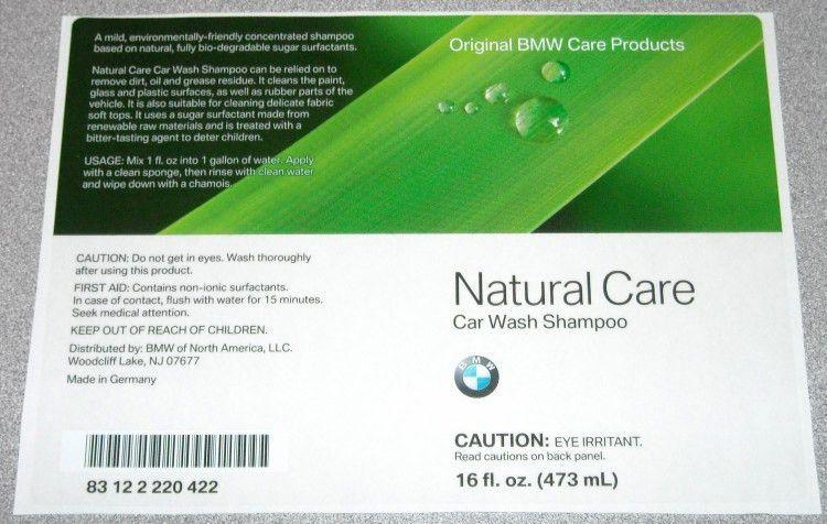 BMW Natural Care Car Wash Shampoo Label | Sample Labels | Product ...