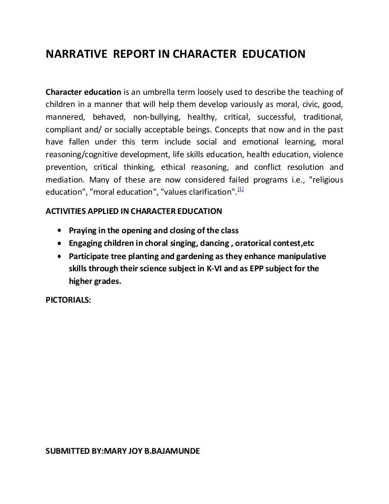 Narrative report in character education