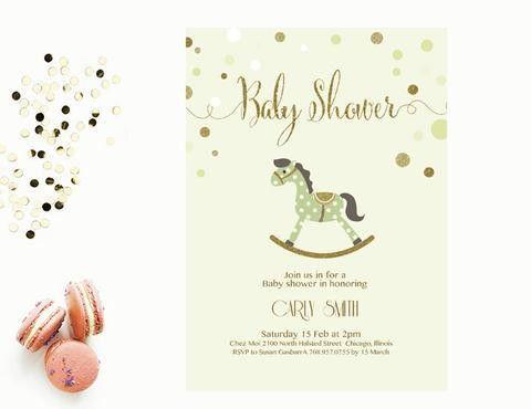 Baby shower Invitation Editable MS Word Template | Vintage Rocking ...