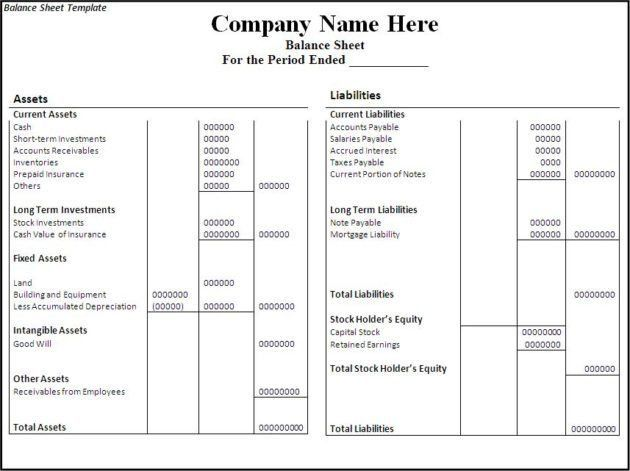 Simple and Editable Balance Sheet Template Free : Helloalive