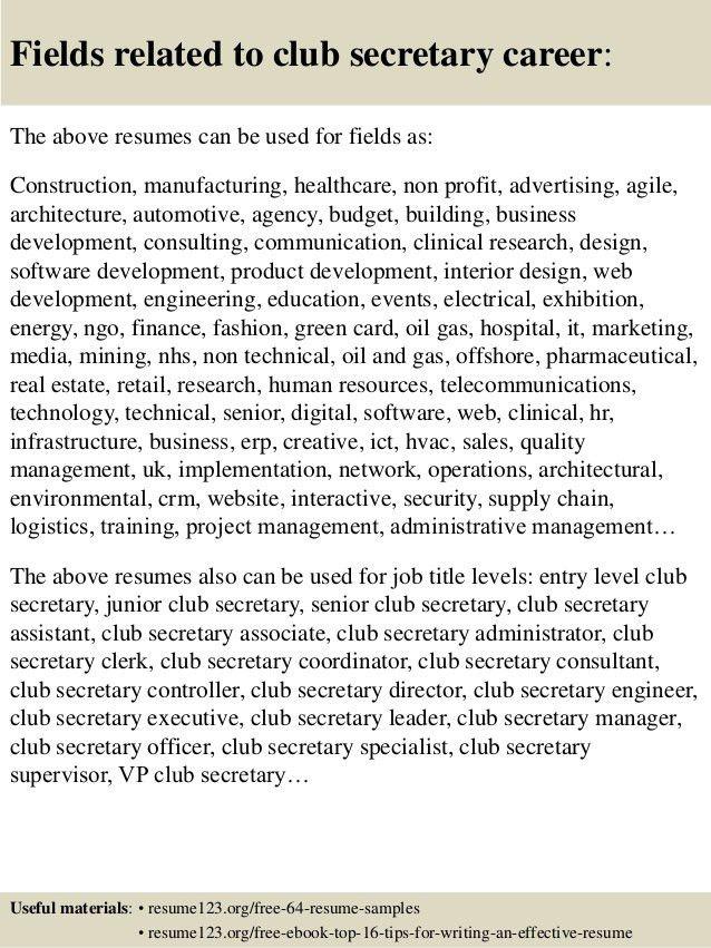Top 8 club secretary resume samples