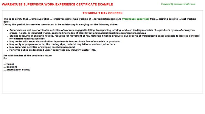 Warehouse Supervisor Work Experience Certificate