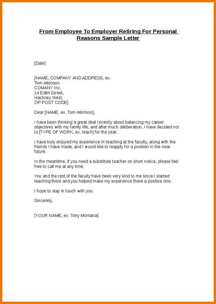 sample letter of retirement to employer