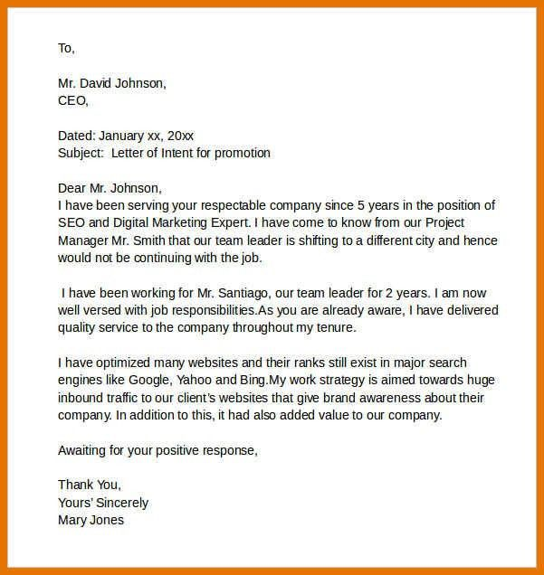 letter of intent for job example | resume name