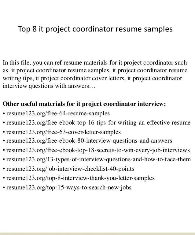 Project Coordinator Resume - Resume Example