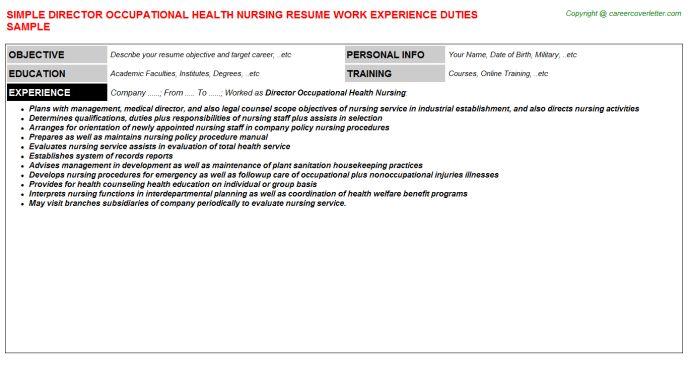 Director Occupational Health Nursing Job Title Docs
